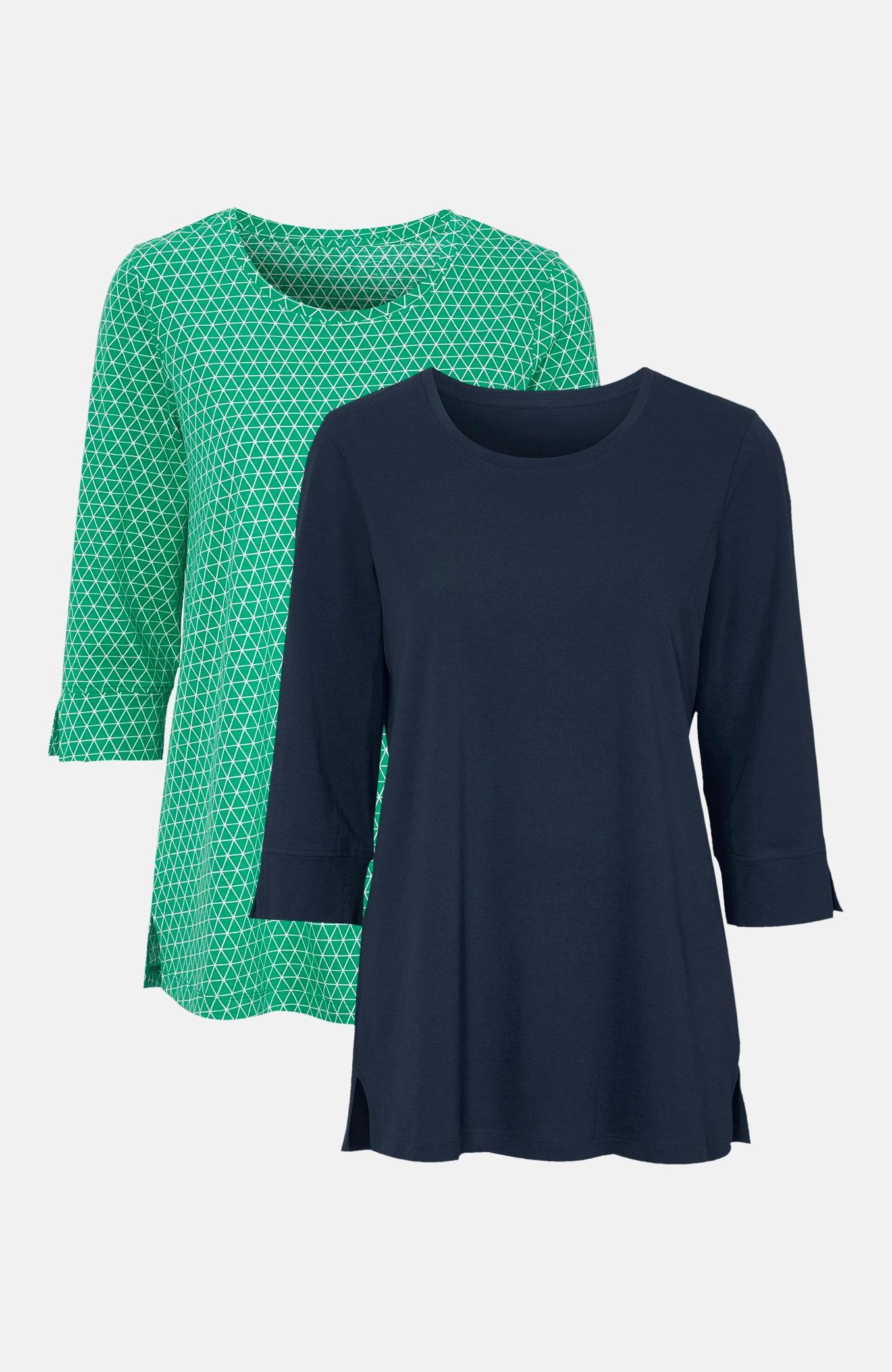 Dżersejowe bluzki zrękawami ¾ 2 sztuki