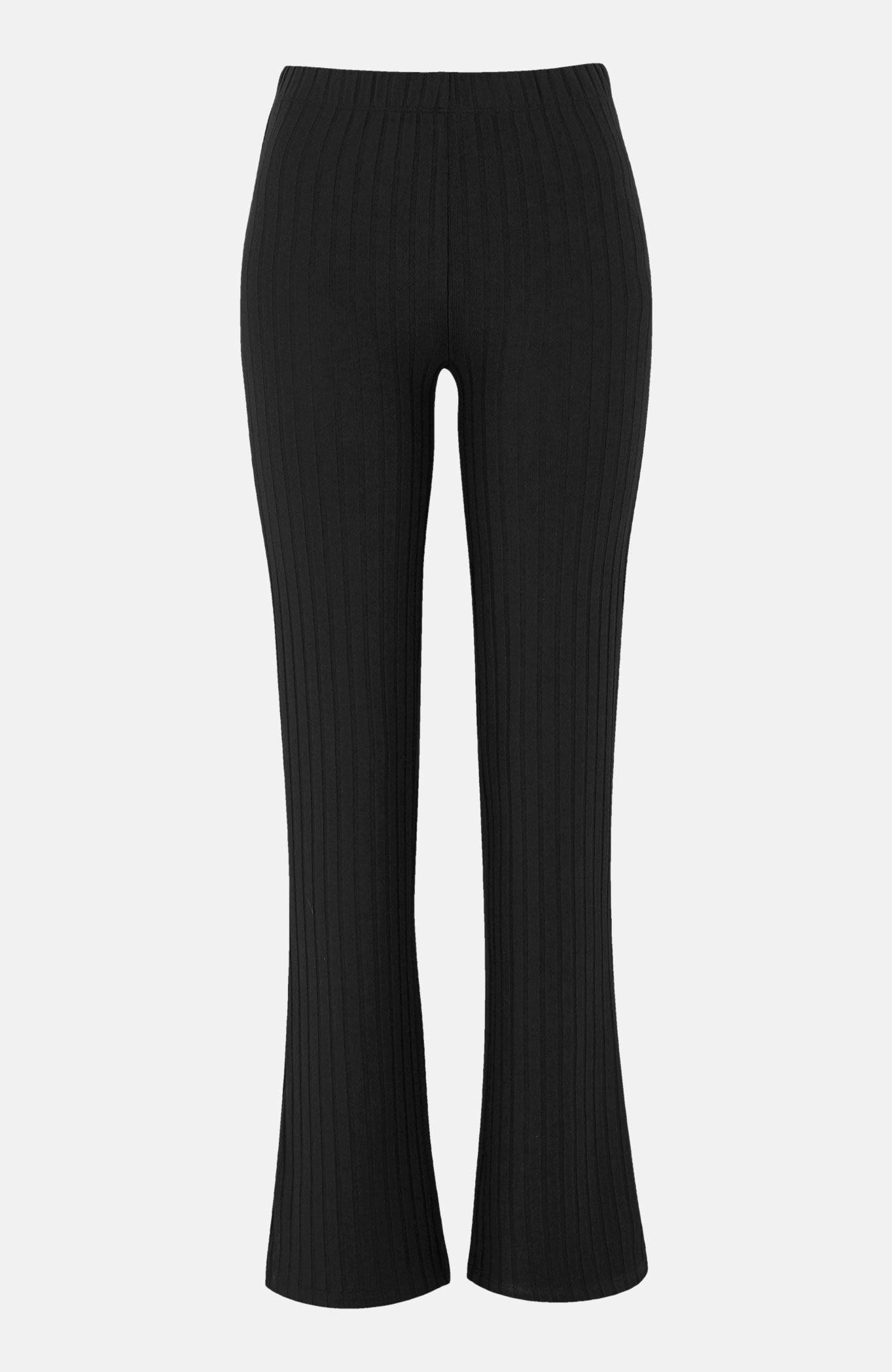Prążkowane legginsy okroju bootcut