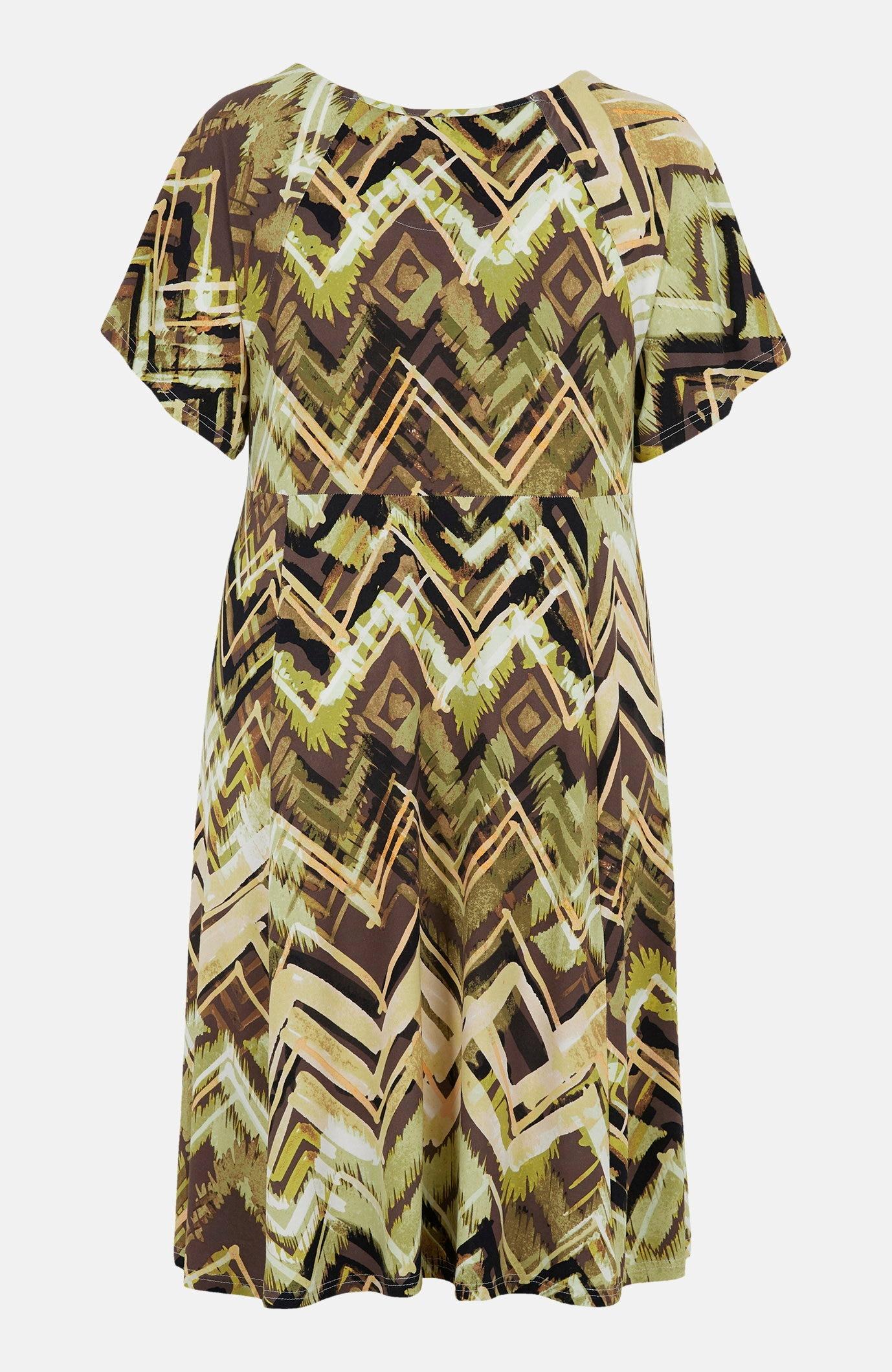 Wzorzysta sukienka zdżerseju Ayla