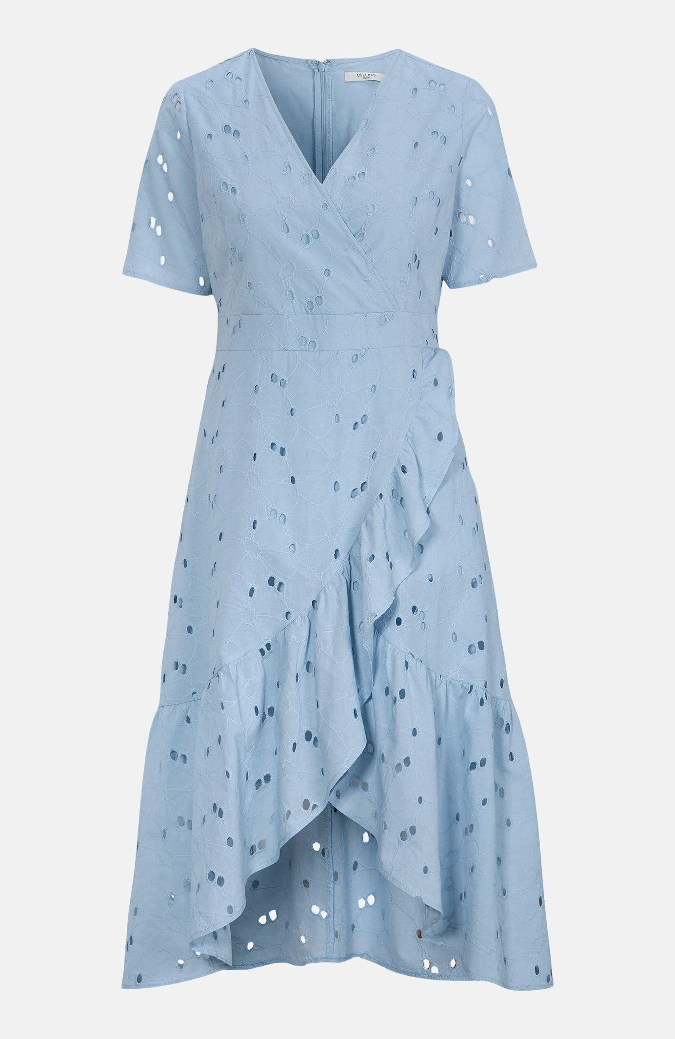 Sukienka kopertowa zhaftem angielskim