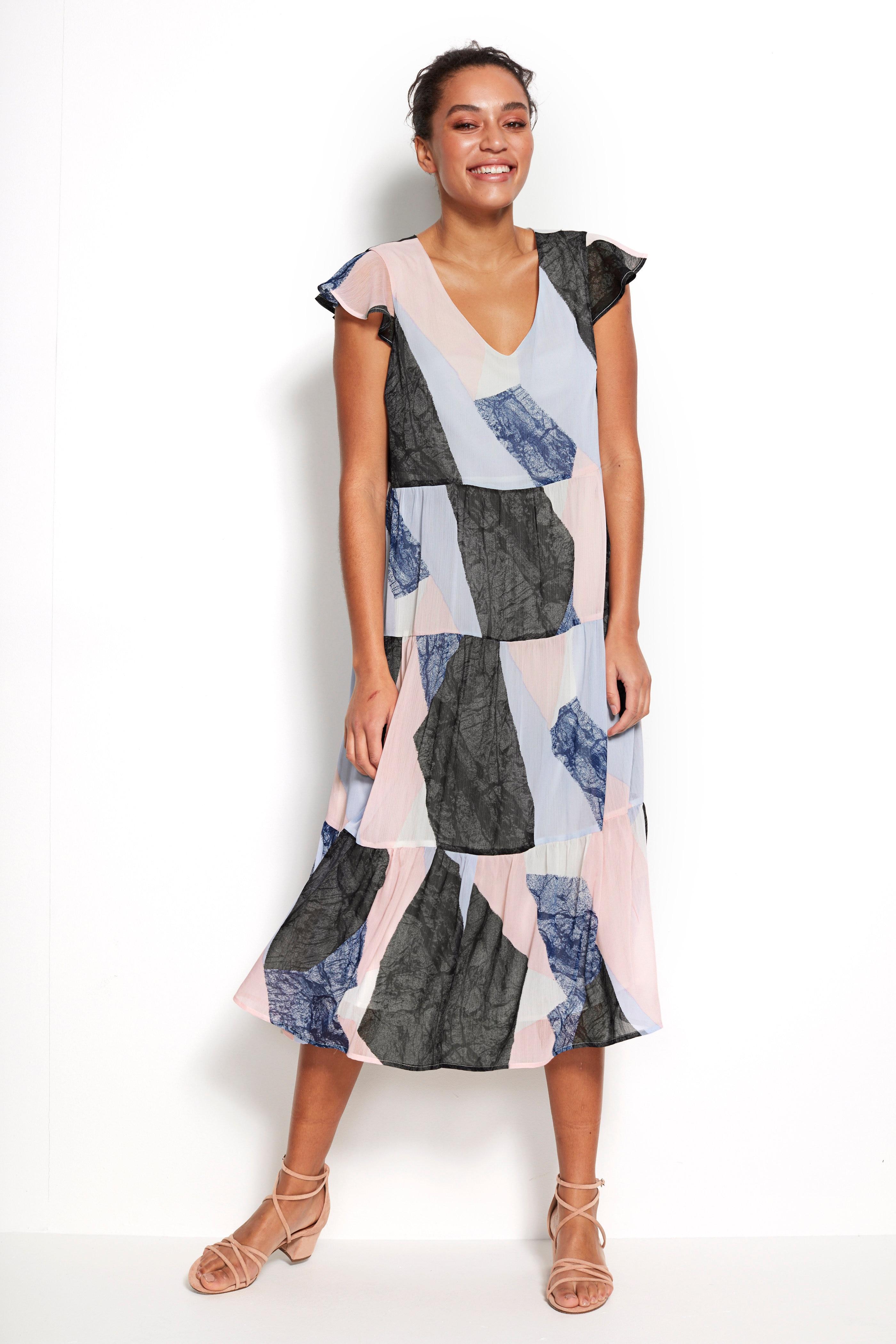 Szyfonowa sukienka zfalbanek
