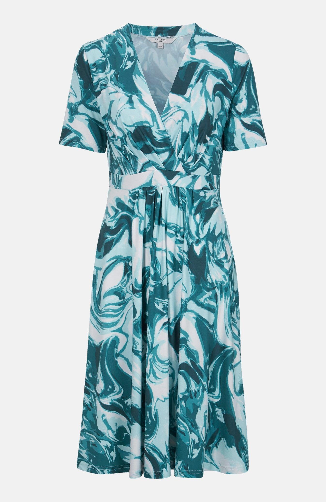 Dżersejowa sukienka zozdobnymi zaszewkami