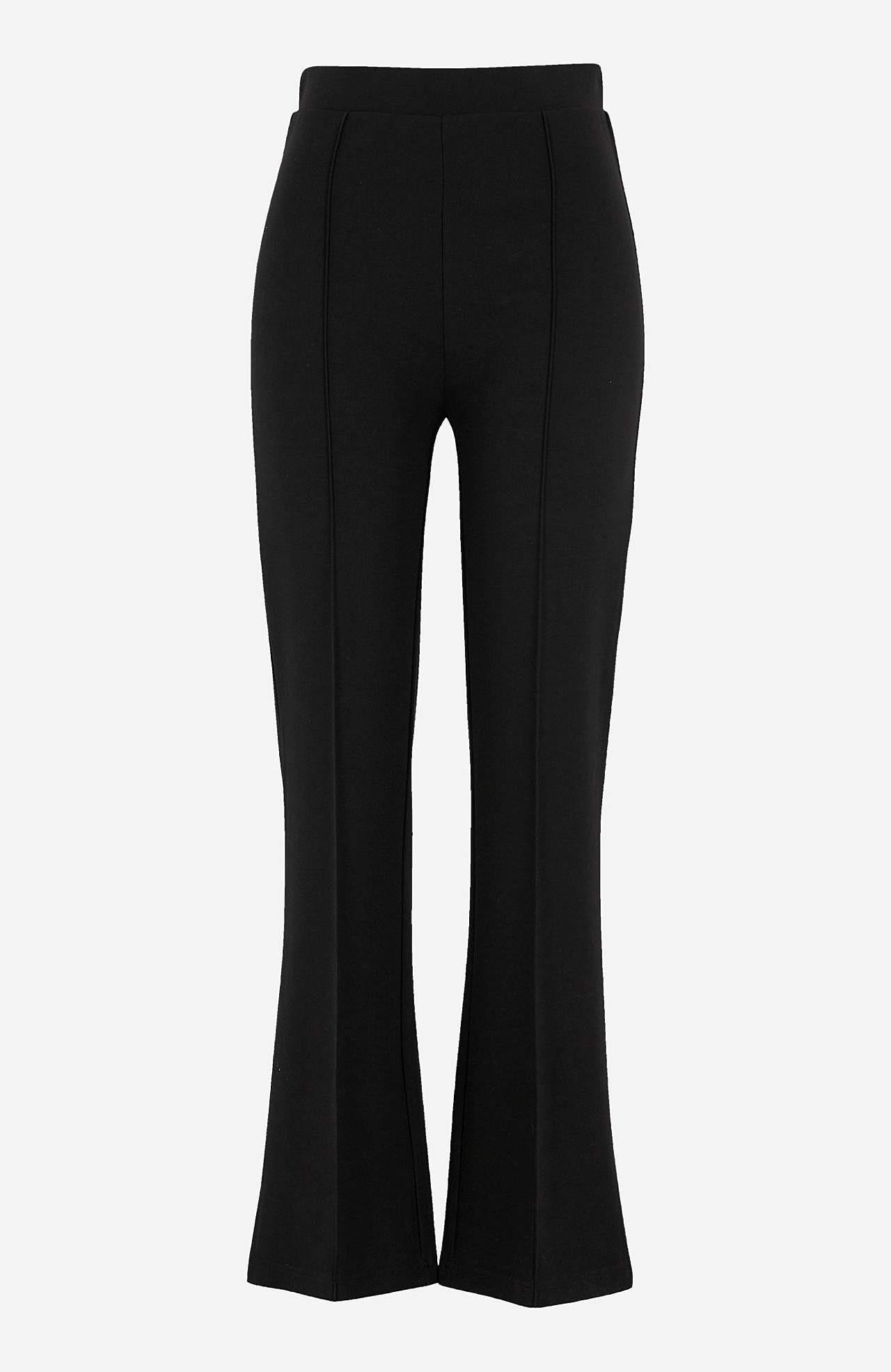 Świetne spodnie z dżerseju z kantami w oczka