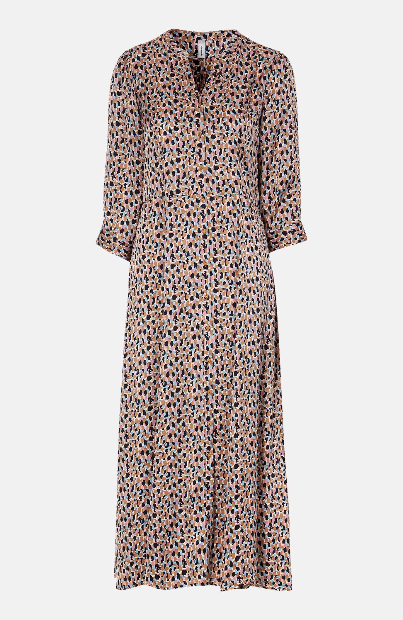 Satynowa sukienka maxi we wzory Odiana