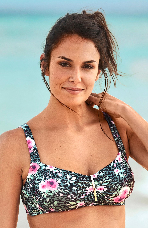 Biustonosz od bikini bez fiszbin w kwiatki