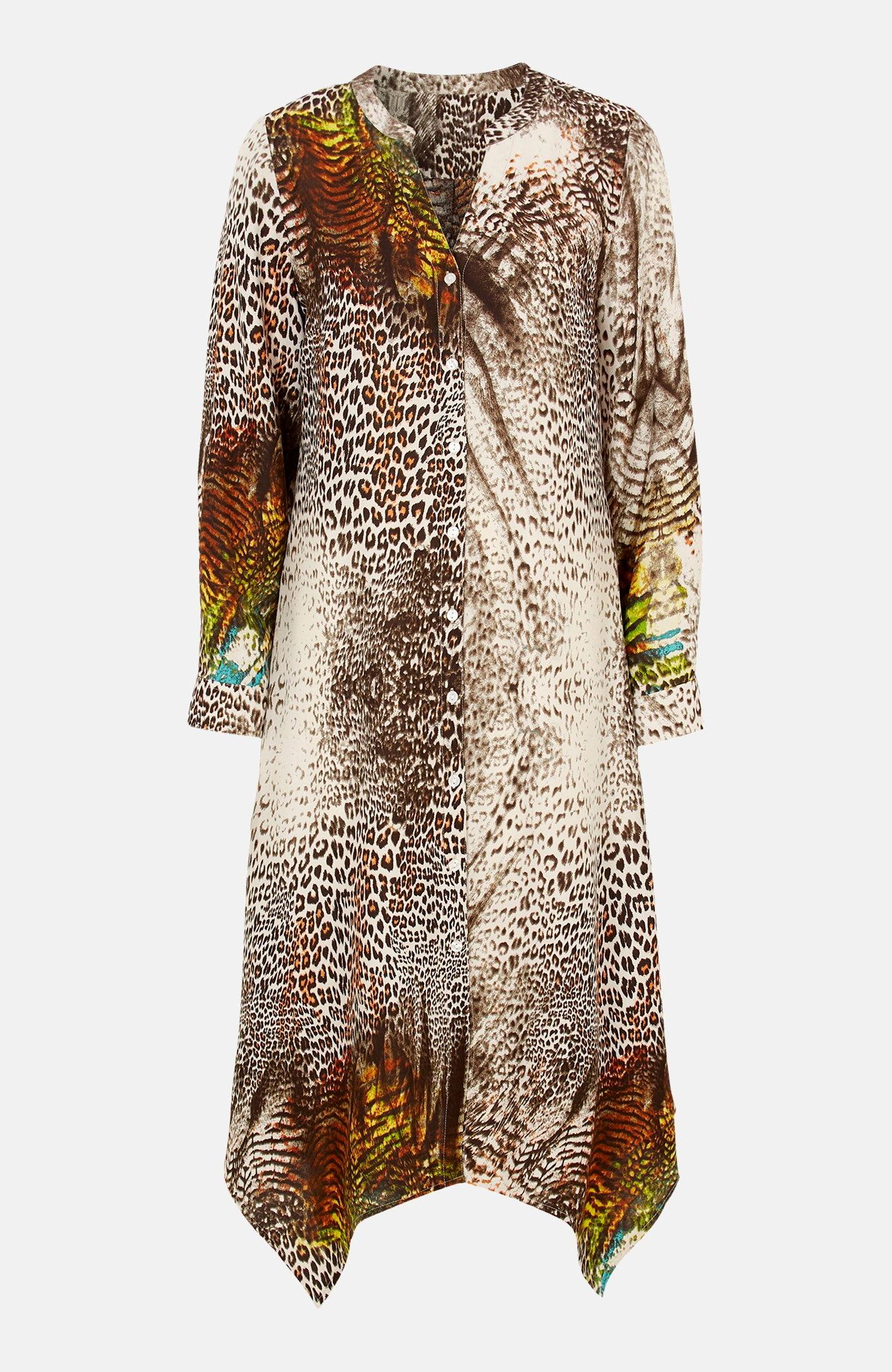 Szeroka sukienka we wzory zasymetrycznym dołem