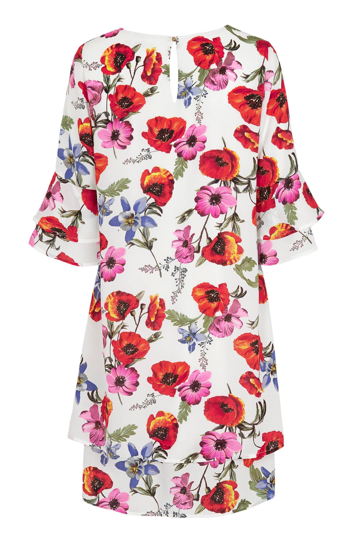Sukienka wkwiaty zrękawami zfalbanką