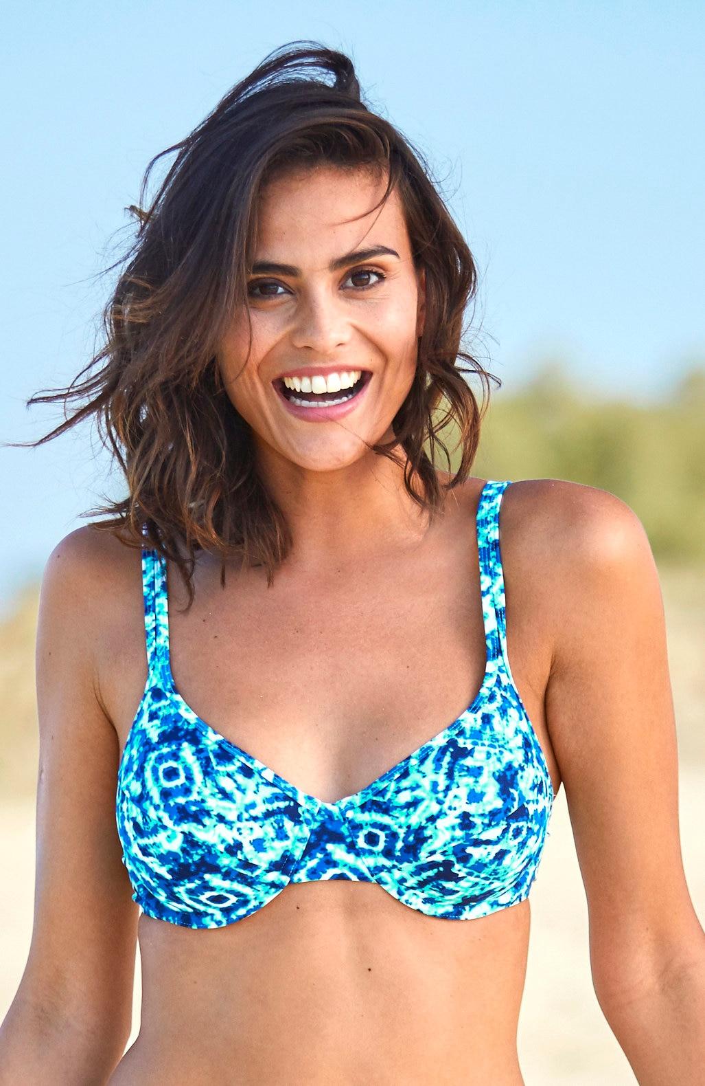 Biustonosz od bikini na fiszbinach wniebieskie wzory