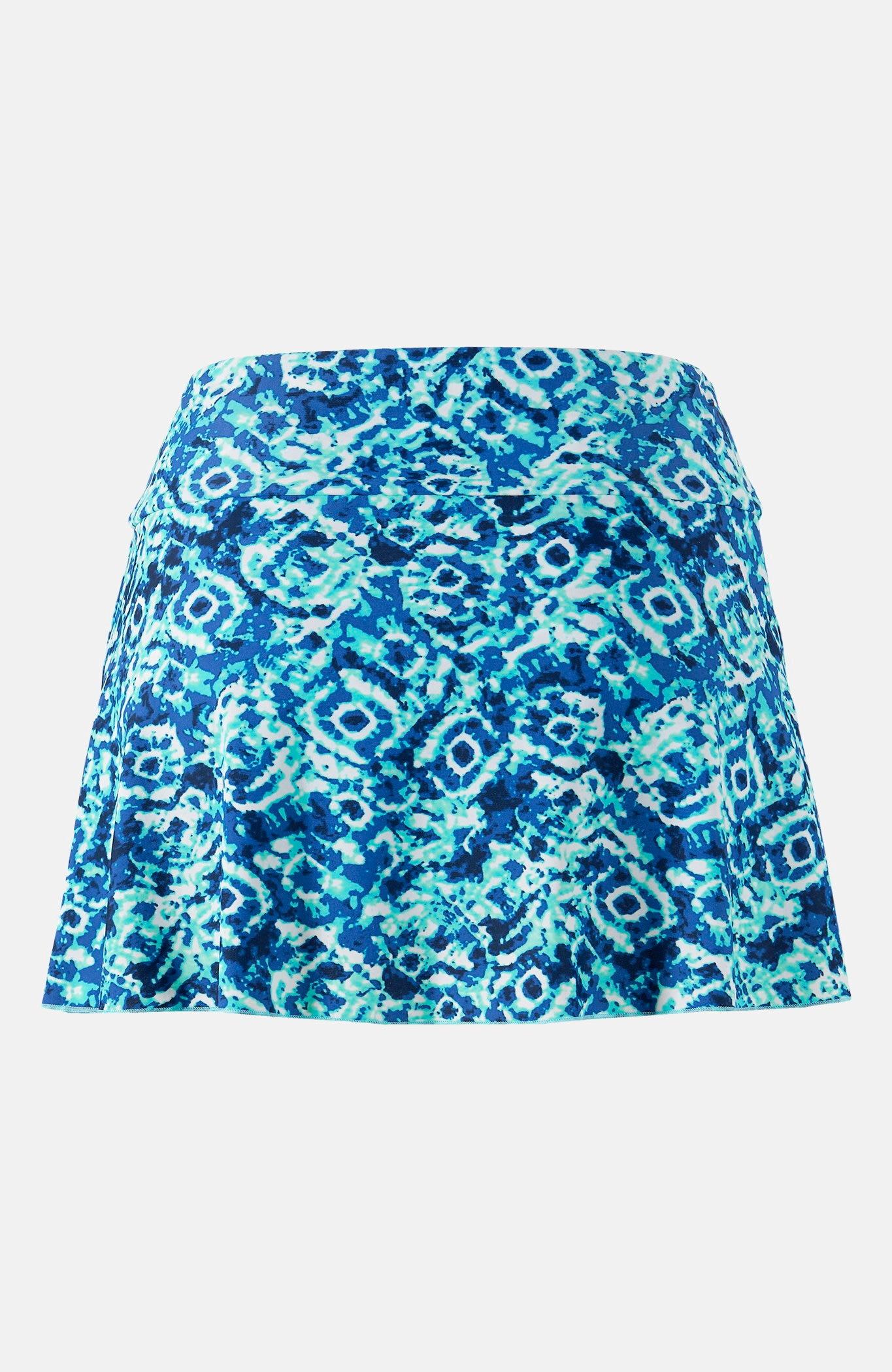 Majtki od bikini ze spódniczką wniebieskie wzory