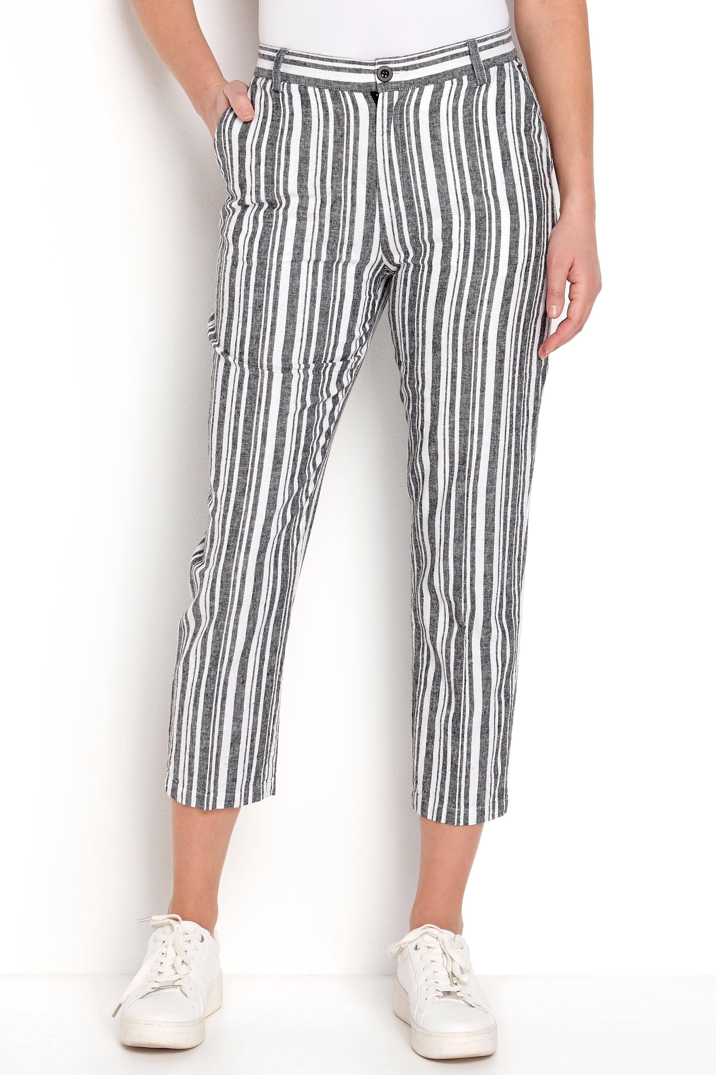 Pasiaste spodnie lniane