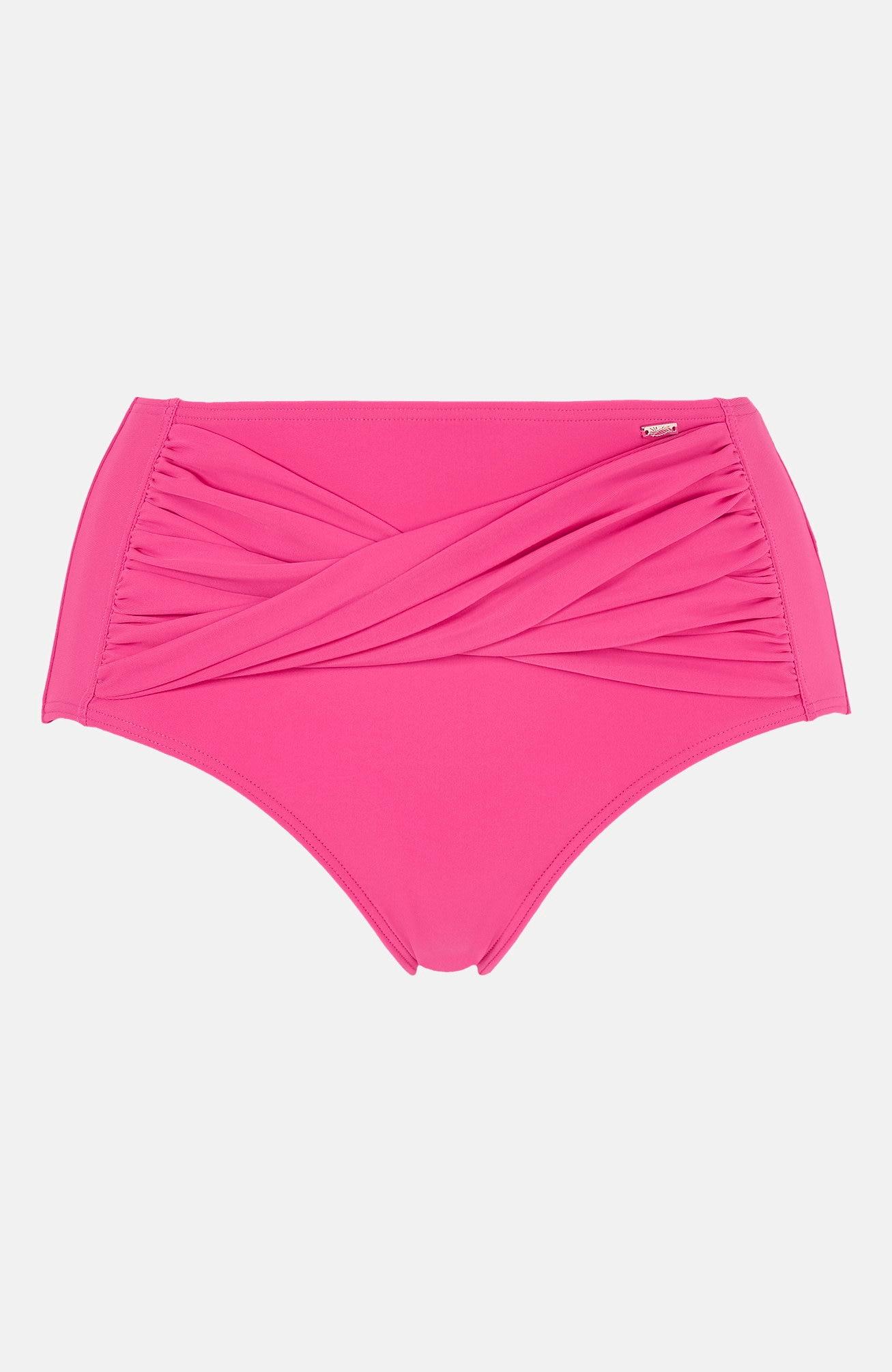 Wiśniowe majtki od bikini z wysokim stanem